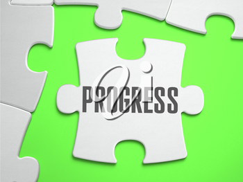 PROGRESS - Jigsaw Puzzle with Missing Pieces. Bright Green Background. Close-up. 3d Illustration.