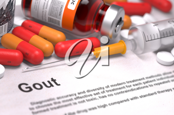 Diagnosis - Gout. Medical Concept with Red Pills, Injections and Syringe. Selective Focus. 3D Render.