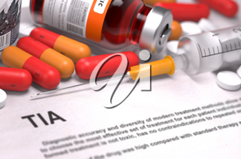 Diagnosis - TIA. Medical Report with Composition of Medicaments - Red Pills, Injections and Syringe. Selective Focus.
