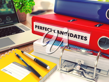 Perfect Candidates - Red Office Folder on Background of Working Table with Stationery, Laptop and Reports. Business Concept on Blurred Background. Toned Image.