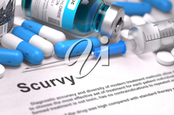 Diagnosis - Scurvy. Medical Concept with Blue Pills, Injections and Syringe. Selective Focus. Blurred Background.