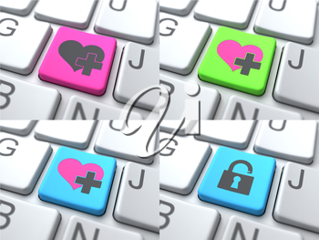 E-Dating Concept -  Multicolored Button on Keyboard Consisting of Share.