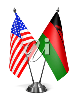 USA and Malawi - Miniature Flags Isolated on White Background.