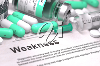 Weakness - Printed with Mint Green Pills, Injections and Syringe. Medical Concept with Selective Focus.