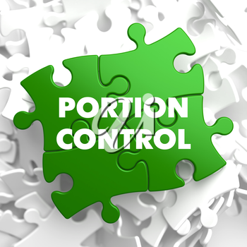 Portion Control on Green Puzzle on White Background.