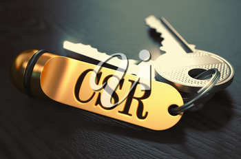 CSR - Certificate Signing Request - Bunch of Keys with Text on Golden Keychain. Black Wooden Background. Closeup View with Selective Focus. 3D Illustration. Toned Image.