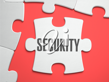 Security - Text on Puzzle on the Place of Missing Pieces. Scarlett Background. Close-up. 3d Illustration.