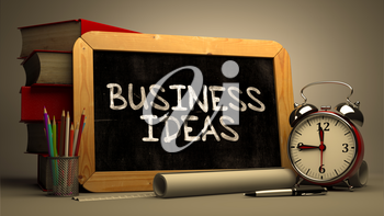 Hand Drawn Business Ideas Concept  on Chalkboard. Blurred Background. Toned Image.