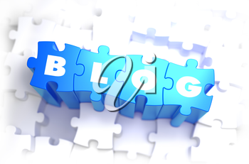 Blog - White Word on Blue Puzzles on White Background. 3D Illustration.