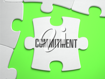 Commitment - Jigsaw Puzzle with Missing Pieces. Bright Green Background. Close-up. 3d Illustration.