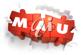 Word - MAU -Monthly Active Users - on Red Puzzles with White Background. 3D Render.