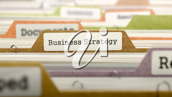 Business Strategy Concept. Colored Document Folders Sorted for Catalog. Closeup View. Selective Focus.