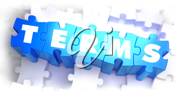 Terms - White Word on Blue Puzzles on White Background. 3D Render.