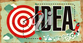 Word  Idea Drawn on Poster with Red Target, Rocket and Arrow. Business Concept