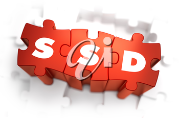 SSD - Solid State Disk - Text on Red Puzzles with White Background. 3D Render.