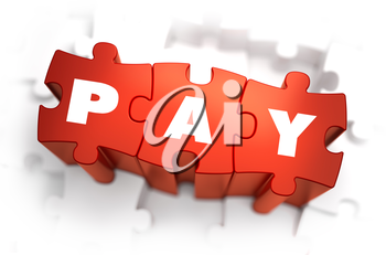 Pay - White Word on Red Puzzles on White Background. 3D Render.