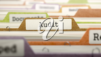 File Folder Labeled as Audit in Multicolor Archive. Closeup View. Blurred Image.