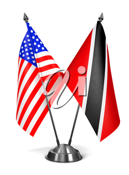 USA,  Trinidad and Tobago - Miniature Flags Isolated on White Background.