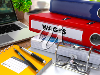 Red Ring Binder with Inscription Wages on Background of Working Table with Office Supplies, Laptop, Reports. Toned Illustration. Business Concept on Blurred Background.