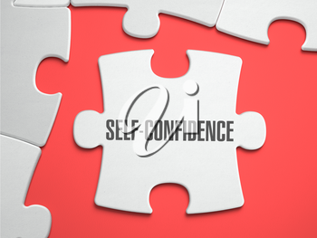 Self-Confidence - Text on Puzzle on the Place of Missing Pieces. Scarlett Background. Close-up. 3d Illustration.