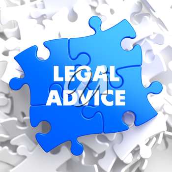 Legal Advice on Blue Puzzle on White Background.