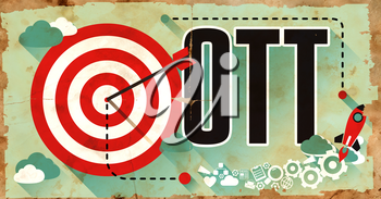 OTT Word Drawn on Old Poster. Business Concept in Flat Design.