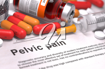 Pelvic Pain. Medical Concept with Red Pills, Injections and Syringe. Selective Focus. 3D Render.