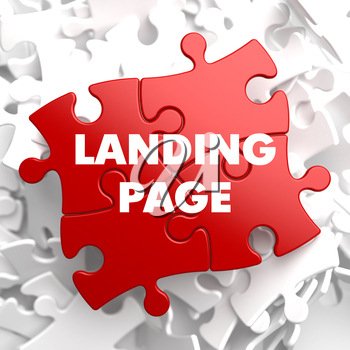 Landing Page on Red Puzzle on White Background.