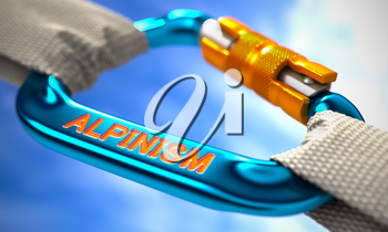 Blue Carabiner between White Ropes on Sky Background, symbolizing the Alpinism. Selective Focus.