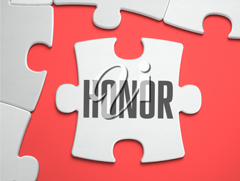 Honor - Text on Puzzle on the Place of Missing Pieces. Scarlett Background. Close-up. 3d Illustration.
