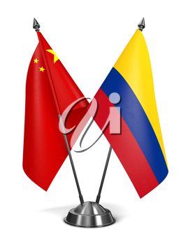 China and Colombia - Miniature Flags Isolated on White Background.