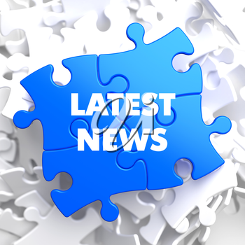 Latest News on Blue Puzzle on White Background.