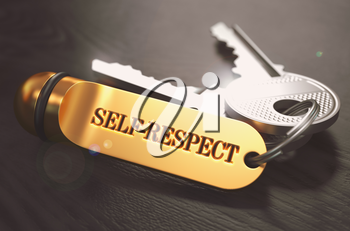 Keys and Golden Keyring with the Word Self-Respect over Black Wooden Table with Blur Effect. Toned Image.
