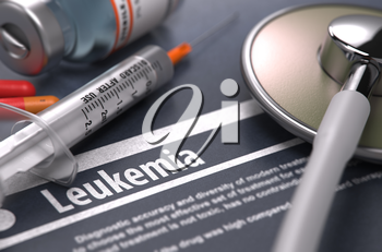 Leukemia - Printed Diagnosis on Grey Background with Blurred Text and Composition of Pills, Syringe and Stethoscope. Medical Concept. Selective Focus.