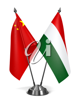China and Hungary - Miniature Flags Isolated on White Background.