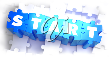 Start - Text on Blue Puzzles on White Background. 3D Render.