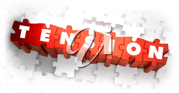 Tension - White Word on Red Puzzles on White Background. 3D Illustration.