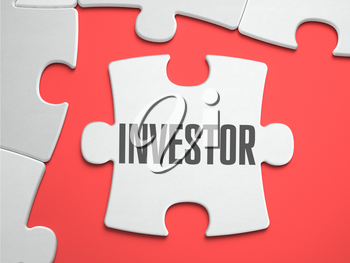 Investor - Text on Puzzle on the Place of Missing Pieces. Scarlett Background. Close-up. 3d Illustration.