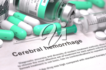 Cerebral Hemorrhage - Printed with Mint Green Pills, Injections and Syringe. Medical Concept with Selective Focus.