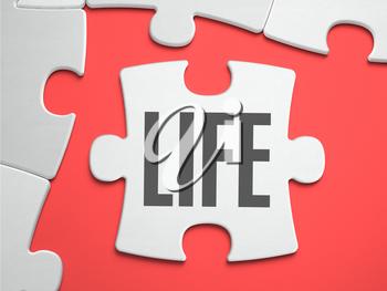 Life - Text on Puzzle on the Place of Missing Pieces. Scarlett Background. Close-up. 3d Illustration.