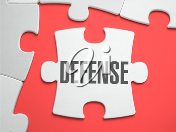Defense - Text on Puzzle on the Place of Missing Pieces. Scarlett Background. Close-up. 3d Illustration.