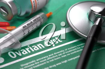 Ovarian cyst - Medical Concept with Blurred Text, Stethoscope, Pills and Syringe on Green Background. Selective Focus.