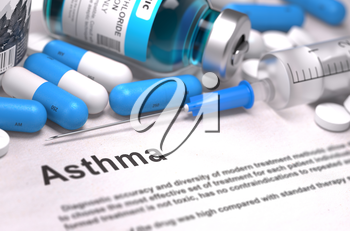 Diagnosis - Asthma. Medical Report with Composition of Medicaments - Blue Pills, Injections and Syringe. Blurred Background with Selective Focus.
