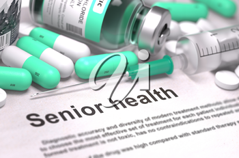 Senior Health - Printed with Mint Green Pills, Injections and Syringe. Medical Concept with Selective Focus.