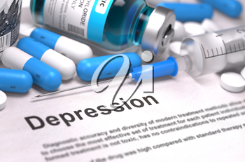 Depression - Printed Diagnosis with Blurred Text. On Background of Medicaments Composition - Blue Pills, Injections and Syringe.