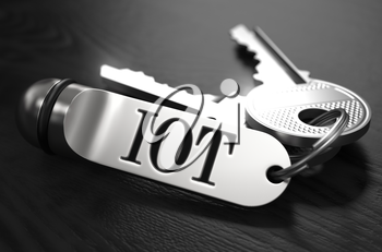 IOT- Internet of Things - Concept. Keys with Keyring on Black Wooden Table. Closeup View, Selective Focus, 3D Render. Black and White Image.