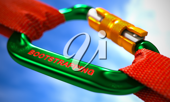Bootstrapping on Red Carabine with a Red Ropes. Selective Focus. 3d Illustration.