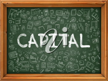 Hand Drawn Capital on Green Chalkboard. Hand Drawn Doodle Icons Around Chalkboard. Modern Illustration with Line Style.