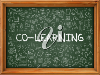 Hand Drawn Co-Learning on Green Chalkboard. Hand Drawn Doodle Icons Around Chalkboard. Modern Illustration with Line Style.