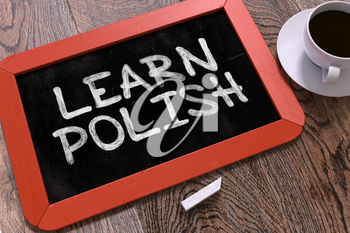 Hand Drawn Learn Polish Concept  on Small Red Chalkboard. Business Background. Top View. 3d Render.